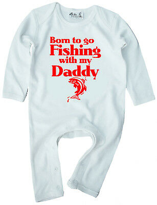 "Baby Fishing Clothes ""Born to go Fishing with My Daddy"" Baby Romper Suit Father"