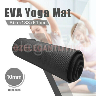New Sale 10Mm Exercise Yoga Mat Home Gym 10Mm Thick Physio Fitness Eva Black