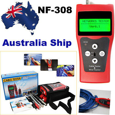 AU Ship NF-308 LCD Display Network LAN Cable Tester Wire Tracker Length Scanner
