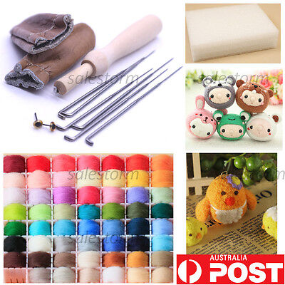 New 20 Colour Wool Needles Felt Tool Set + Needle Felting Mat Starter Kits DIY