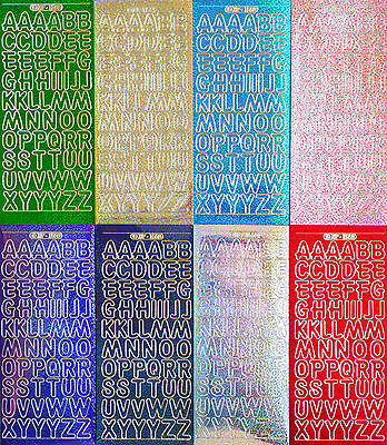 HOLOGRAPHIC 1.8cm Uppercase ALPHABETS PEEL OFF STICKERS Capital Letters Shimmer