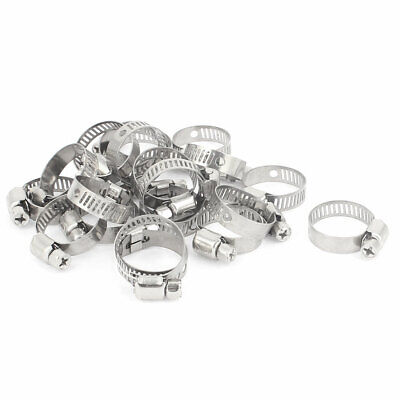 Adjustable 16-25mm Cable Tight Coolant Hose Pipe Fitting Worm Gear Clamp 20 Pcs