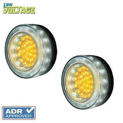 LED Bullbar Indicator Park & DRL Clear & Amber Light Pair Toyota Hilux & Prado