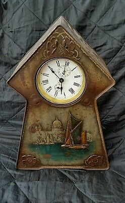 Antique Arts & Crafts style Metal Mantel Clock