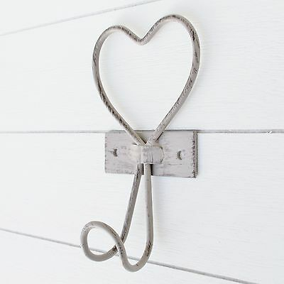 set of 2 Wire Heart Single Wall Coat Hooks Taupe French Style Vintage Shabby
