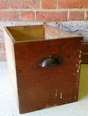 Vintage Wooden Deep Pine Drawer Brass Cup Pull Handle Shelf/Storage Shop Display