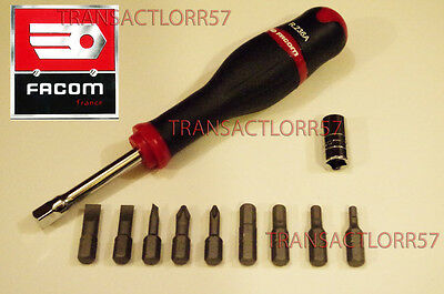 Facom Lot Tournevis + Porte Embout + 9 Embouts Divers 1/4 Neuf