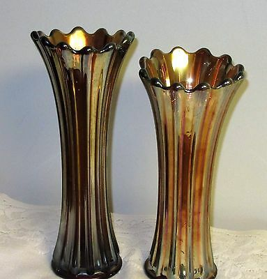 "Westmoreland Corinth Amethyst Carnival Glass Vases 9"" & 10"" set of 2"