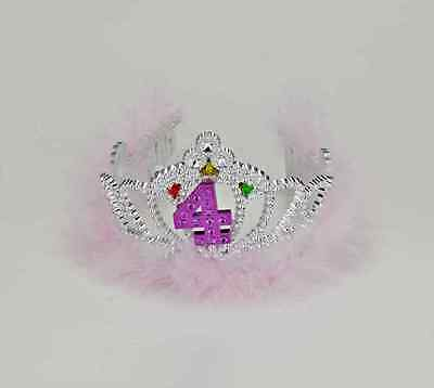 4th Birthday 4 Flashing Tiara Pink Crown Princess Party Favor Costume Accessory