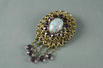 Vintage Filigree Dress Fur Clip Amethyst Glass Large Blue Cabochon