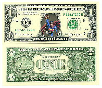 SUPERMAN - VRAI BILLET de 1 DOLLAR US ! Super Heros Collection DC Comics Marvel