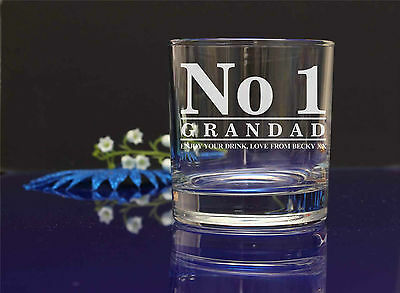 Personalised engraved No1 DAD/GRANDAD WHISKY glass.Dad's Fathers day gift 13