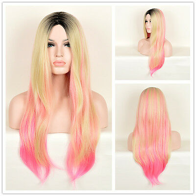 Women's Black Root Blonde Pink Ombre Hair Wig Natural Straight Party Wigs