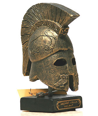 Greek Ancient Warrior HELMET on base, gold, embossed owls Home Décor Art 4.33΄΄