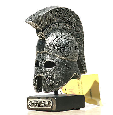 Greek Ancient Warrior HELMET on base, gray, embossed owls Home Décor Art 4.33΄΄ • CAD $29.98