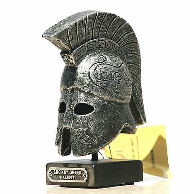Greek Ancient Warrior HELMET on base, gray, embossed owls Home Décor Art 4.33΄΄