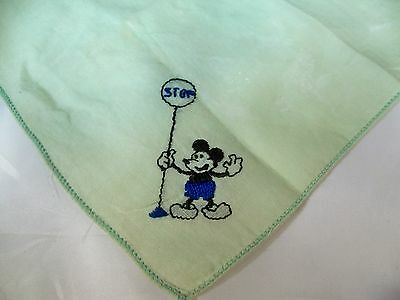Vintage Juvenile Green  Handkerchief Embroidered Blue & Black Mickey Mouse!