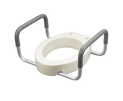 Elevated Raised Toilet Seat Disability Seniors Handicap Removable Arms Grab Bar
