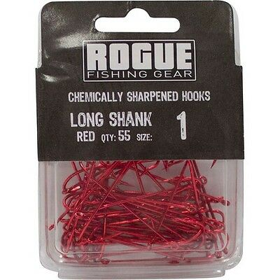 Rogue Long Shank Hook Red 1 55pk Bulk Pack