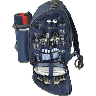4 Person Picnic Backpack with Rug