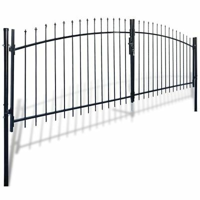 New Double Door Fence Gate with Spear Top 400 x 175 cm Steel Powder-coated