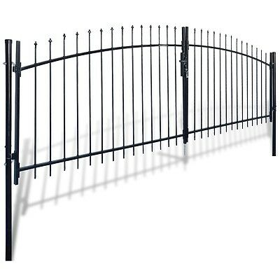 New Double Door Fence Gate with Spear Top 400 x 200 cm Steel Powder-coated