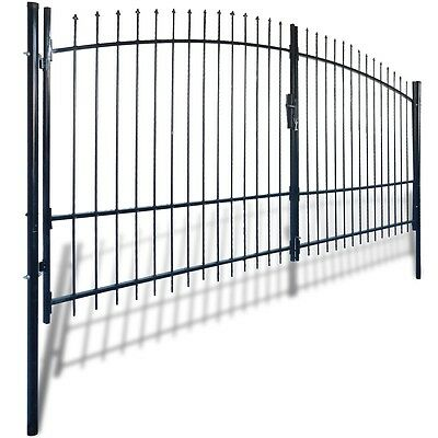 New Double Door Fence Gate with Spear Top 400 x 225 cm Steel Powder-coated
