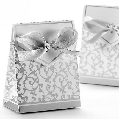 Pop Up Gift Box for Jewellery - Silver + White with ribbon