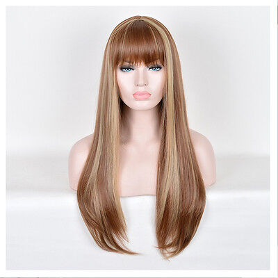 Classic Long Natural Straight Brown Wig Women's Synthetic Hair Fashion Wigs