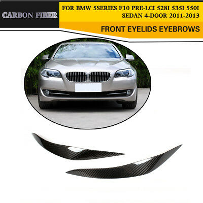 Carbon Fiber Front Headlight Lamp Covers Eyelids Eyebrows Fit for BMW F10 11-17