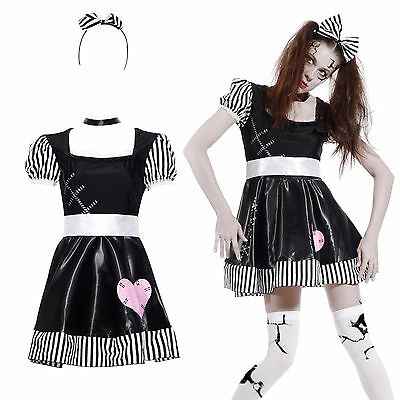 Adulto Travestimento Donna Cosplay Costume Bambola Rotto Broken Rag Doll