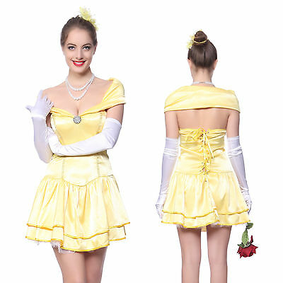 Donna Halloween Cosplay costume Beauty and the Beast Bella e Bestia Giallo