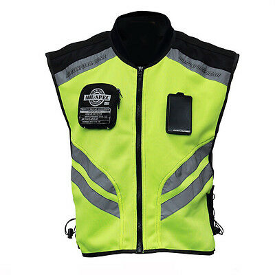 Motorcycle Riding MIL SPEC Mesh Visibility Neon Reflective Safety Racing Vest