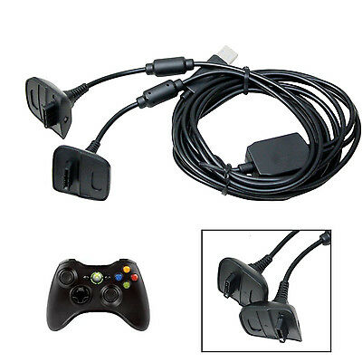 2 in 1 3m Long USB Charging Charger+Play Cable Lead For Xbox 360 Controller