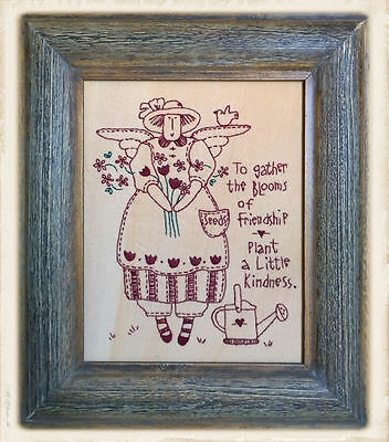 FRAMED PRiMiTiVE STiTCHERY by Bronwyn Hayes || BLOOMS OF FRiENDSHiP