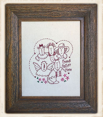 FRAMED PRiMiTiVE STiTCHERY by Bronwyn Hayes || FRiENDS GATHER HERE