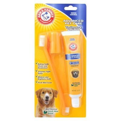Dog Puppy 3 Piece Dental Care Kit Beef Toothpaste & Finger Toothbrush