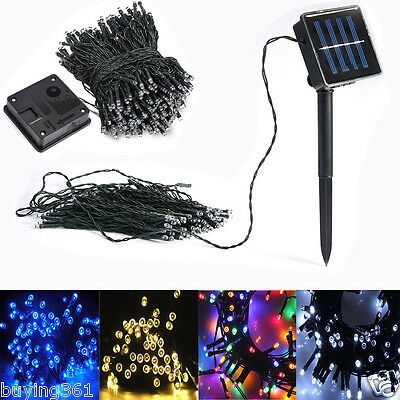 100 200 LED Solar Power Fairy Lights String Garden Outdoor Party Wedding Decking