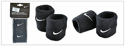 Nike Black Swoosh Wristbands Sweat Bands All Sports Athlete Unisex Bands