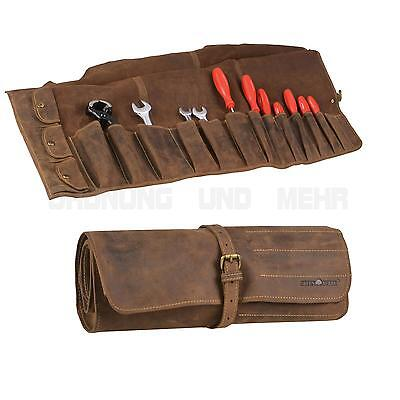 Leather Tool Roll Case Pocket Roll Pouch 14 Pockets brown VINTAGE NEW