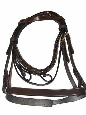 Leather Snaffle Hunt Bridle - Brown Pony Size