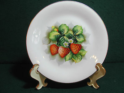 """Occupied Japan 8"""" Hand Painted Strawberry Plate"""