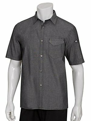 Chef Works SKS002-BLK-L Detroit Short-Sleeve Denim Shirt, Black, New, Free Shipp