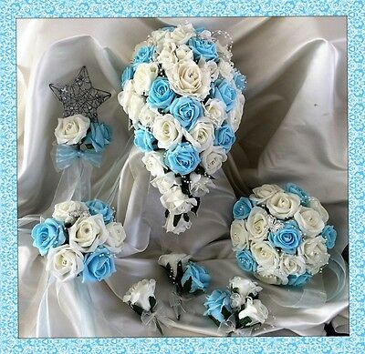 Wedding Flowers Ivory/Aqua Blue Crystal Bouquet Bride/Bridesmaids/Buttonholes