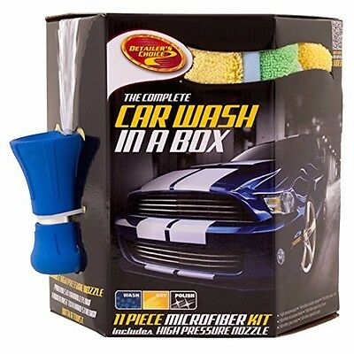 Detailer's Choice Car Wash In A Box Microfiber Kit Fire Hose Nozzle 11 Piece