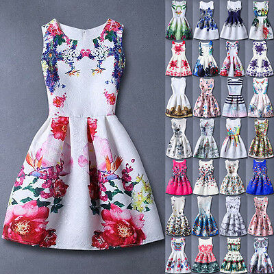Fashion Kids Girls Summer Sleeveless Printing Belted Skater Party Dress Age5-13Y