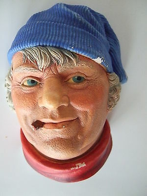 Legend Products Chalkware FISHERMAN   head wall plaque, 1984