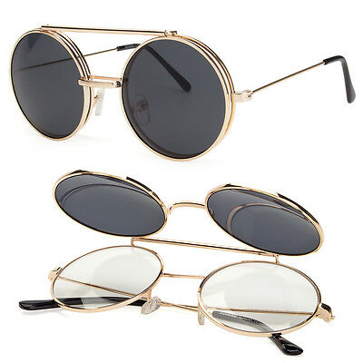 Cool Flip Up Lens Steampunk Vintage Retro  Round Sunglasses Tortoise Gold a b