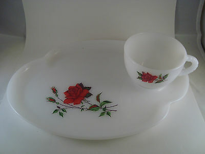 Federal Luncheon Plates and Cups opaque white glass Red Rose pattern