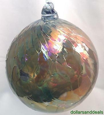 New Silver Stained Witch Ball Glass Friendship Sun Catcher Silver & Blue #6